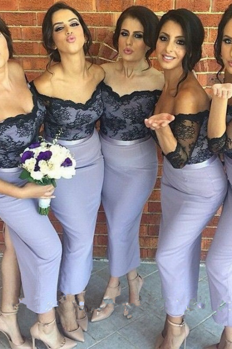 Custom Made Black Lace Off Shoulder Neckline Purple Sheath Split Bridesmaid Dress