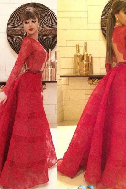 Red Prom Dresses,Lace Evening Dress,Prom Gowns With Sheer Long Sleeves,Mermaid Prom Gown,Beautiful Lace Formal Gown
