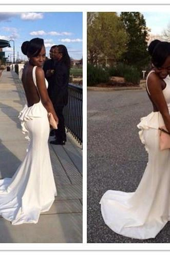 White Prom Dresses,Mermaid Prom Dress,White Prom Gown,Chiffon Prom Gowns,Elegant Evening Dress,Modest Evening Gowns,Sexy Party Gowns,Spaghetti Straps Prom Dress