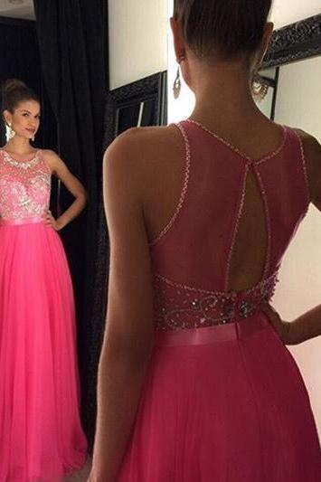 Pink Backless Prom Dresses,Open Back Prom Gowns, Pink Prom Dresses 2016, Party Dresses 2016,Long Prom Gown,Open Backs Prom Dress,Sparkle Evening Gown,Sparkly Party Gowbs