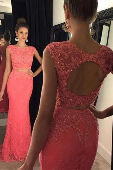 2016 Fashion Prom Dresses,Lace Prom Dress,Mermaid Formal Gown,2 pieces Prom Dresses,Lace Evening Gowns,2 piece Formal Gown For Teens