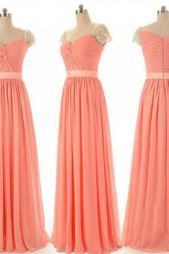 2016 Prom Dresses,Coral Evening Gowns,Sexy Formal Dresses,Chiffon Prom Dresses,2016 Fashion Evening Gown,Sexy Evening Dress,Party Dress,Bridesmaid Gowns