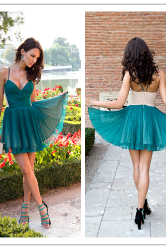 Green Homecoming Dress,Simple Homecoming Dresses,Cheap Homecoming Gowns,Short Prom Gown,Sweet 16 Dress,2016 Homecoming Dresses,Chiffon Cocktail Dress,Formal Dress