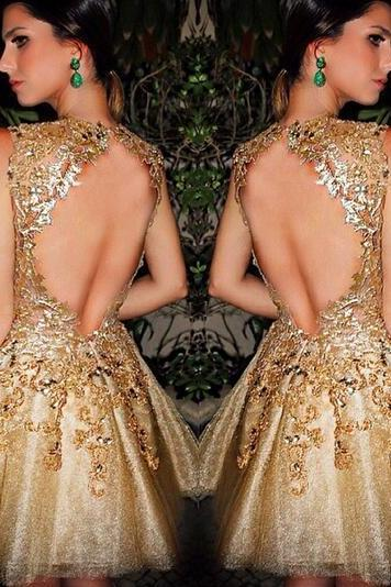 Gold Homecoming Dress,Short Prom Gown,Tulle Homecoming Gowns,Backless Party Dress,Sequined Prom Dresses,2016 Homecoming Dress For Teens