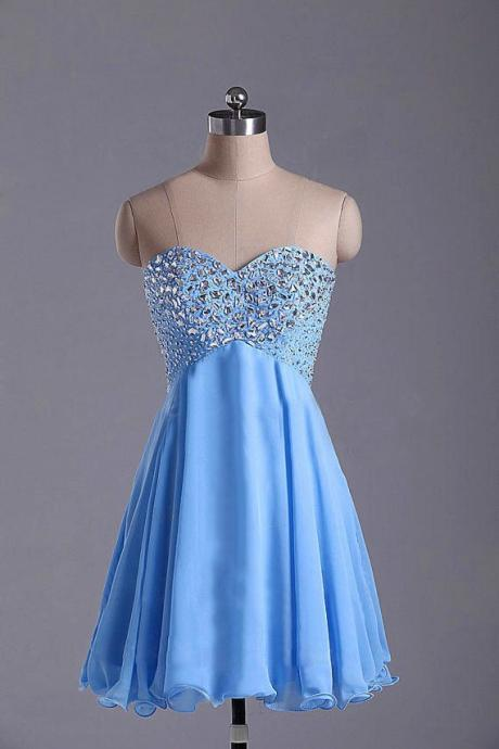 Blue Homecoming Dress,Short Prom Dresses,Homecoming Gowns,Fitted Party Dress,Silver Beading Prom Dresses,Sparkly Cocktail Dress,backless Homecoming Gown,2016 Style Glitter Evening Gowns