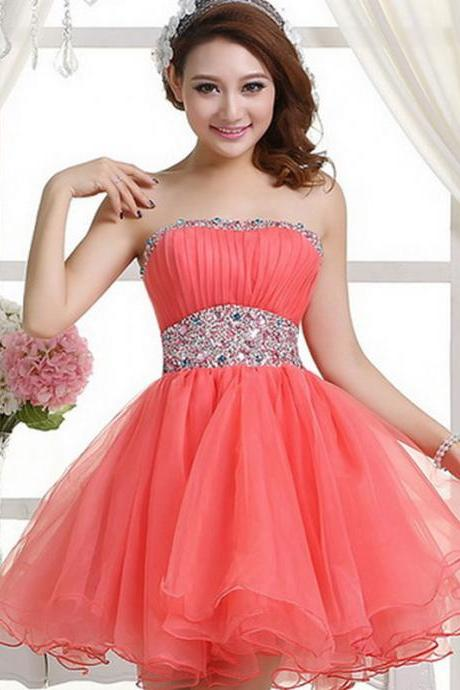 Coral Homecoming Dress,Sexy Homecoming Dresses,Tulle Homecoming Gown,Beading Party Dress,Short Prom Dress,Sweet 16 Dress,Homecoming Dresses,Glitter Evening Gown