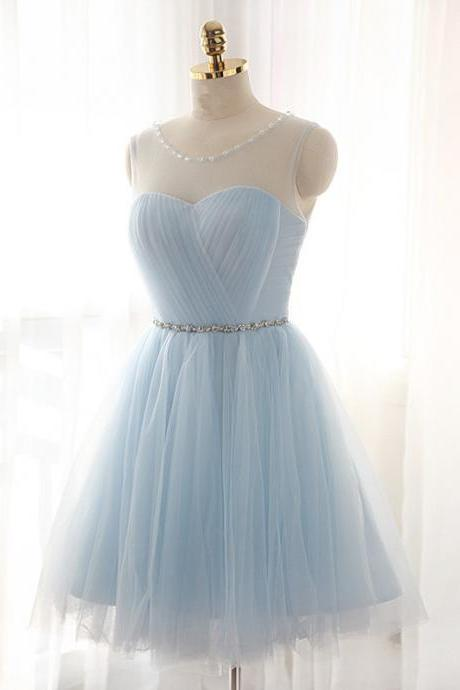 Light Sky Blue Homecoming Dress,Short Prom Dresses,Homecoming Gowns,Fitted Party Dress,Silver Beading Prom Dresses,Sparkly Cocktail Dress,backless Homecoming Gown,2016 Style Glitter Evening Gowns