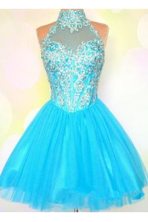 Blue Homecoming Dress,Homecoming Dresses,Blue Beading Homecoming Gowns,Short Prom Gown,Cute Sweet 16 Dress,Elegant Homecoming Dress,Charming Cocktail Dress,Parties Evening Gowns