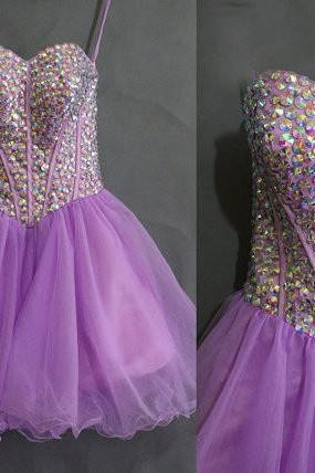 Lilac Homecoming Dress,2016 Homecoming Gown,Tulle Homecoming Gowns,Party Dress,Strapless Prom Dresses,Ruffled Cocktail Dress,Formal Gown