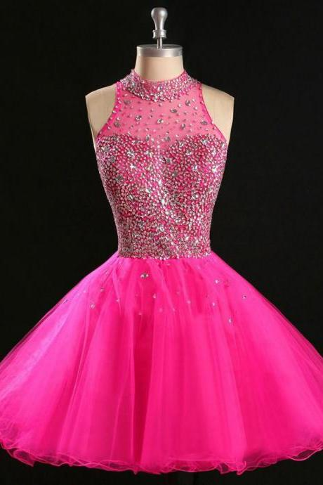 Tulle Homecoming Dress,Pink Homecoming Dress,Cute Homecoming Dress,2015 Fashion Homecoming Dress,Short Prom Dress,Pink Homecoming Gowns,Beaded Sweet 16 Dress,Short Evening Gowns