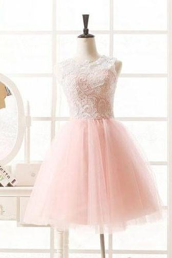 Pink Homecoming Dress,Short Tulle Prom Dresses,Homecoming Gowns,Homecoming Dresses 2015,Winter Formal Dresses,Graduation Dresses,Sweet 16 Gown