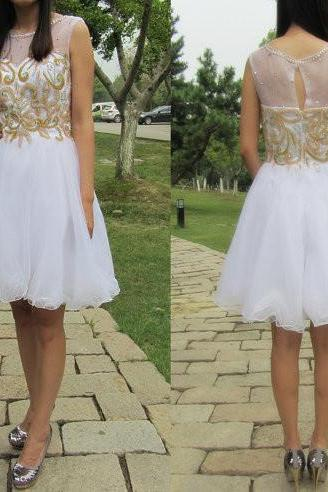 White Homecoming Dress,Short Prom Gown,Tulle Homecoming Gowns,Princess Party Dress,Prom Dresses With Gold Beading Homecoming Dress For Teens