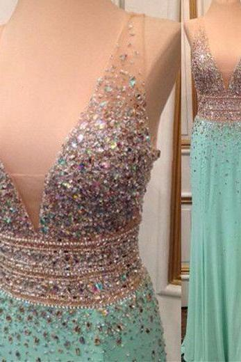 Mint Green Prom Dresses,Backless Evening Gowns,Sexy Formal Dresses,Beaded Prom Dresses,2016 Fashion Evening Gown,Open Backs Evening Dress