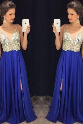 Royal Blue Prom Dress,A line Prom Dress,Chiffon Prom Gown,Prom Dresses,Sexy Evening Gowns,Straps Evening Gown,Party Dress,Beaded Formal Gowns For Teens