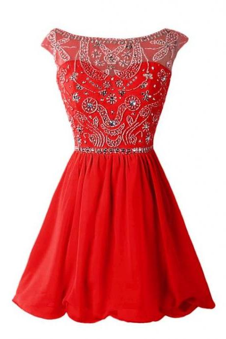 Red Homecoming Dress,Chiffon Homecoming Dresses,Short Prom Dress,Red Beading Evening Dress,Sexy Prom Dress,Modest Homecoming Gowns,Elegant Prom Dress,Boat Cocktail Gowns