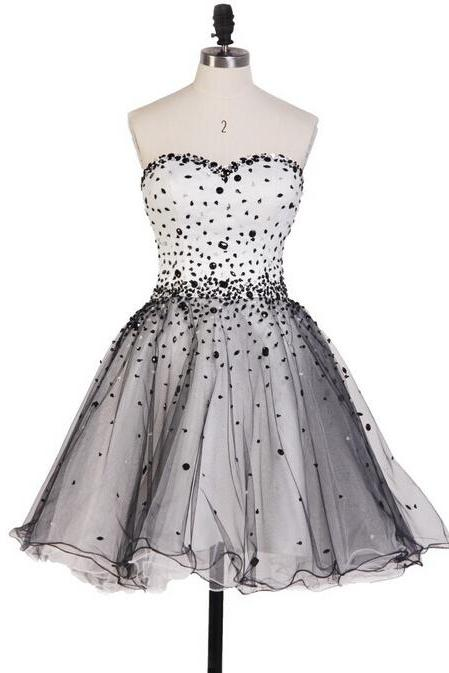 Black Homecoming Dress,Tulle Homecoming Dresses,Homecoming Gowns,Silver Beading Party Dress,Short Prom Gown,Sweet 16 Dress,Corset Homecoming Dresses,Vintage Formal Dress