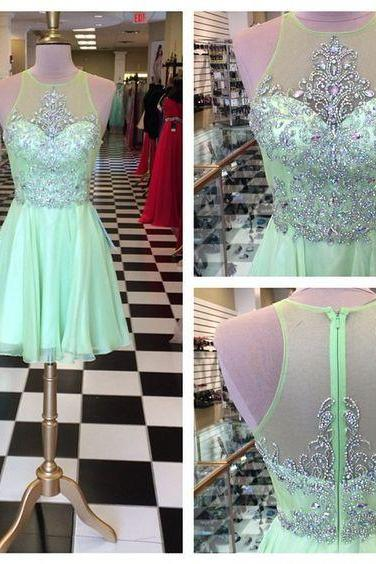 Mint Green Homecoming Dress,Chiffon Homecoming Dresses,Homecoming Gowns,Short Prom Dress,Beading Prom Dresses,Cute Sweet 16 Dress,Evening Dresses For Teens