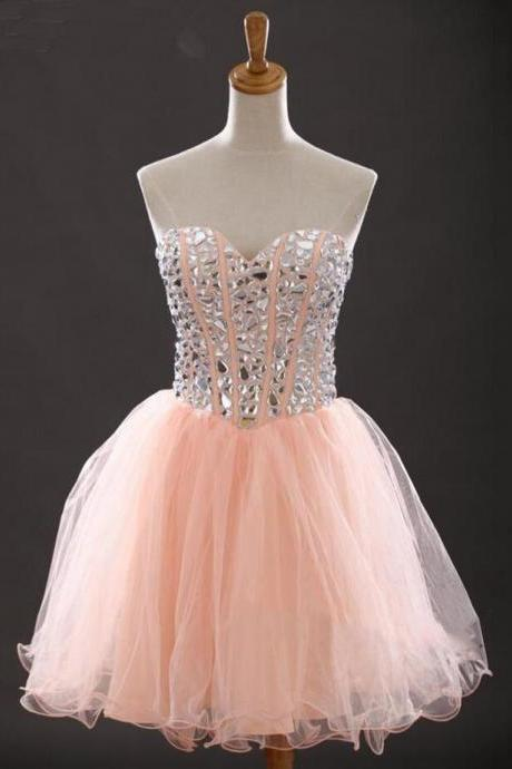 Blush Pink Homecoming Dress,Short Prom Dresses,Tulle Homecoming Gowns,Party Dress,Sparkly Prom Gown,Cocktail Dress,Sweet 16 Dress