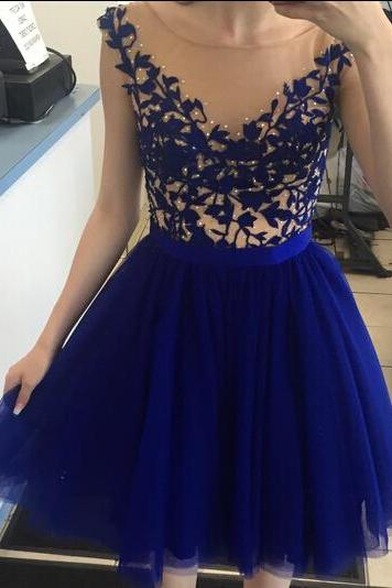 Tulle Homecoming Dress,Lace Homecoming Dress,Royal Blue Homecoming Dress,Fitted Homecoming Dress,Short Prom Dress,Homecoming Gowns,Cute Sweet 16 Dress For Teens