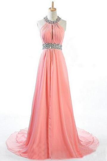 Prom Dresses,Beading Prom Dress,Open Back Formal Gown,Prom Dresses,Sexy Evening Gowns,Chiffon Formal Gown,Blush Pink Evening Party Gowns For Teens