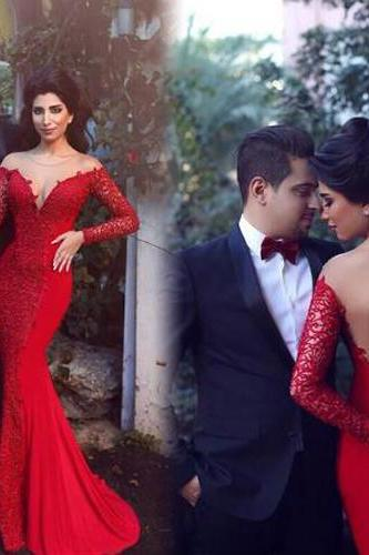 Red Prom Dress,Mermaid Prom Dress,Lace Prom Gown,Backless Prom Dresses,Sexy Evening Gowns,Long Sleeves Evening Gown,Formal Dress For Teens