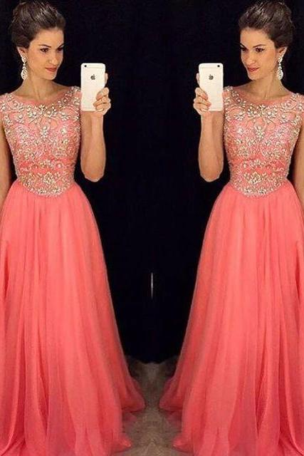 Prom Dresses,Coral Prom Dress,Beading Prom Gown,Prom Gowns,Elegant Evening Dress,Beaded Evening Gowns,Sexy Party Gowns,Coral Prom Dress,Evening Gowns