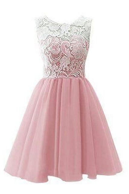 Pink Homecoming Dress,Homecoming Dresses,Lace Homecoming Gowns,Short Prom Gown,Pink Sweet 16 Dress,Homecoming Dress,Cocktail Dress,Evening Gowns