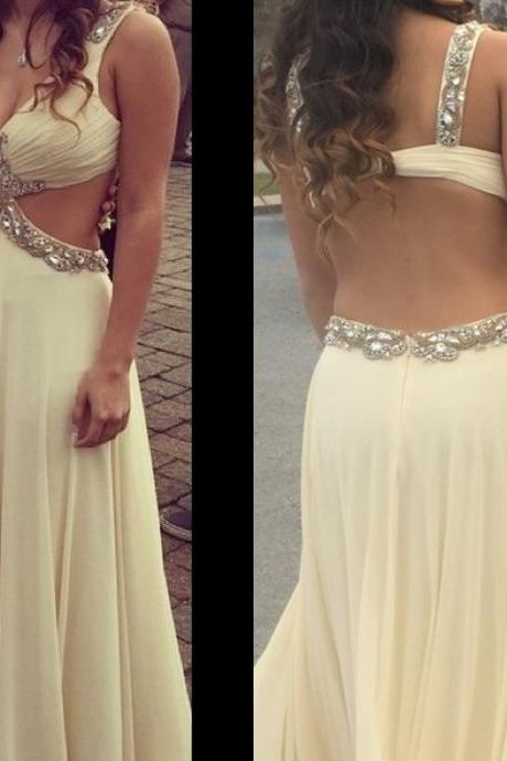Champagne Prom Dresses,2016 Evening Gowns,Ball Gown Formal Dresses,Sparkly Prom Dresses,Princess Evening Gown,Crystals Evening Dress,Beading Prom Gowns