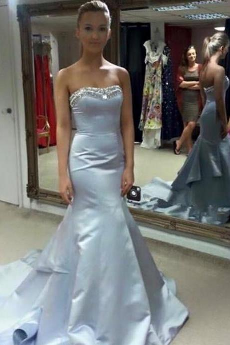 Modest Prom Dresses,Light Blue Prom Dress,Sexy Prom Gown,Simple Prom Dresses,Evening Gowns,2016 Evening Dresses
