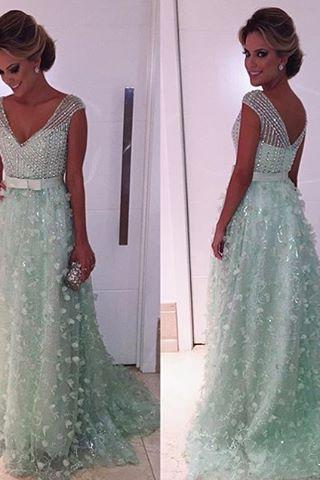 Mint Green Prom Dress,Ball Gown Prom Dress,Princess Prom Gown,Beaded Prom Dresses,Sexy Evening Gowns,New Fashion Evening Gown,Sexy Graduation Dress For Teens