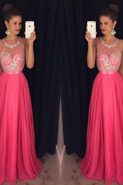 Pink Prom Dresses,Prom Gowns, Pink Prom Dresses 2016, Party Dresses 2016,Long Prom Gown,Prom Dress,Sparkle Evening Gown,Sparkly Party Gowbs