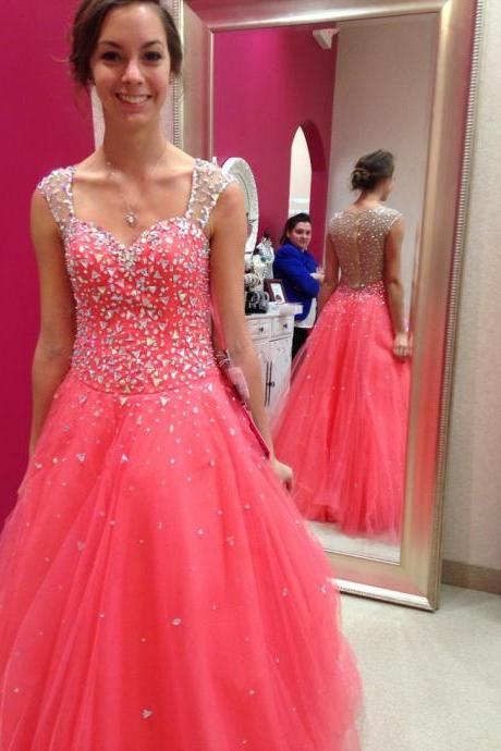 Prom Dresses,Tulle Prom Dresses,Princess Prom Dress,Long Prom Gown,Corset Prom Dresses,Silver Beaded Evening Dress,2016 Prom Dress