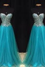 Blue Prom Dresses,Evening Gowns,Sexy Formal Dresses,Beaded Prom Dresses,Sequins Evening Gown,Open Backs Evening Dress,Tulle Prom Dresses