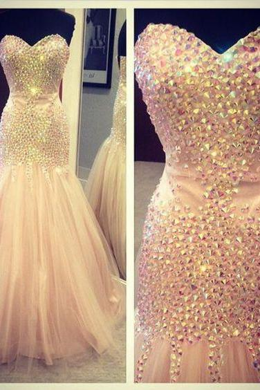 Prom Gown,Prom Dresses,Sparkle Evening Gowns,Mermaid Formal Dresses,Pink Prom Dresses 2016,Tulle Evening Gowns,Prom Gowns