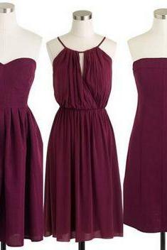Custom Made Evening Dress in Burgundy, Prom Dress, Formal Cocktail Dress, Bridesmaid Dresses , Weddings