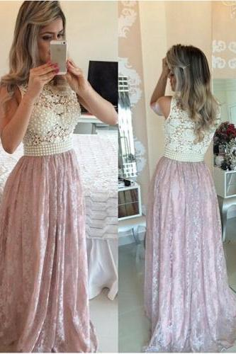 2016 Prom Dresses,Pink Evening Gowns,Lace Formal Dresses,Prom Dresses ,2016 Fashion Evening Gown,Beautiful Evening Dress,Pink Formal Dress,Lace Prom Gowns