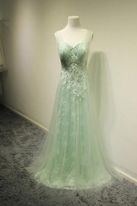 Mint Green Prom Dresses,2016 Evening Dresses,New Fashion Prom Gowns,Elegant Prom Dress,Lace Prom Dresses,Chiffon Evening Gowns,Formal Dress