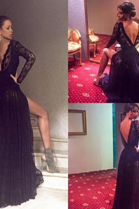 Black Prom Dress,Mermaid Prom Dress,Lace Prom Gown,Backless Prom Dresses,Sexy Evening Gowns,Evening Gown,Open Back Long Sleeves Dress For Teens