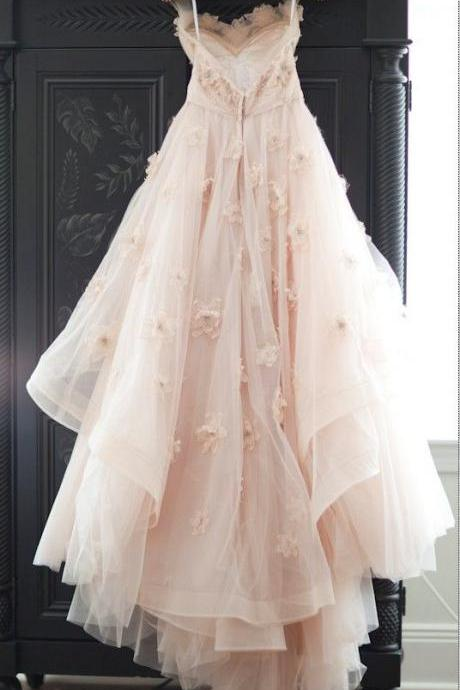 2016 Lovely Wedding Dresses,Long Wedding Gown,Tulle Wedding Gowns,Lace Bridal Dress,Romantic Wedding Dress,Unique Blush Pink Brides Dress,Spring Wedding Gowns