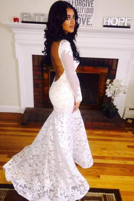 Mermaid Bateau Appliques Sexy Backless Evening Dresses White Long Sleeve Prom Dresses