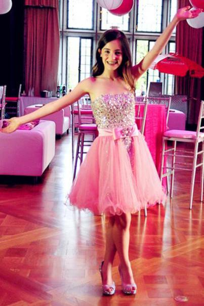 Charming Prom Dress,Pink Tulle Prom Dresses,Strapless Homecoming Dress,Short Homecoming Dresses