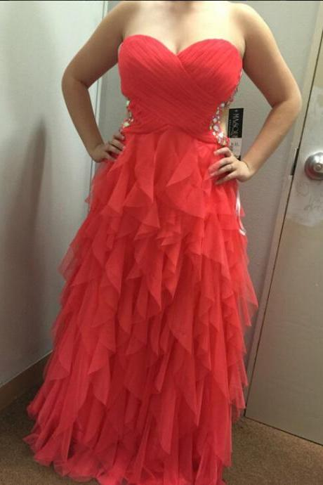 Long Prom Dress,Chiffon Prom Dresses,Red Prom Gown,Ruffle Evening Dress,Formal Dress