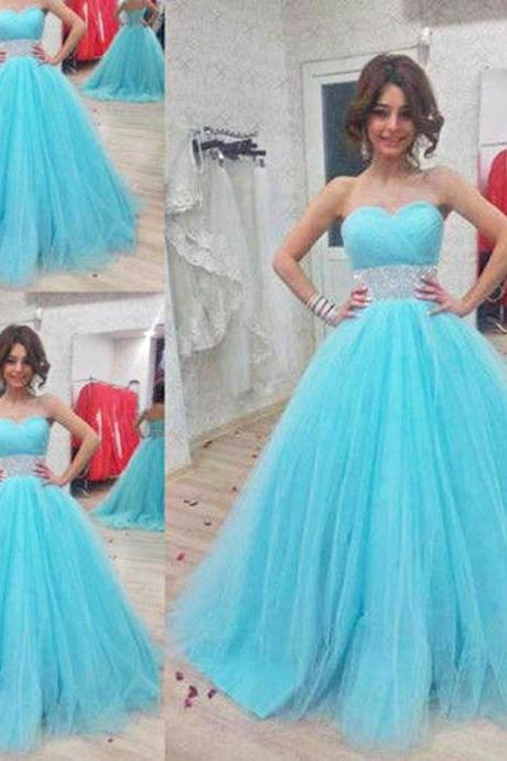Sky Blue Prom Dress , A-Line Tulle Prom Dress , Shiny Beading Sweetheart Prom Dress , Floor Length Long Prom Dress