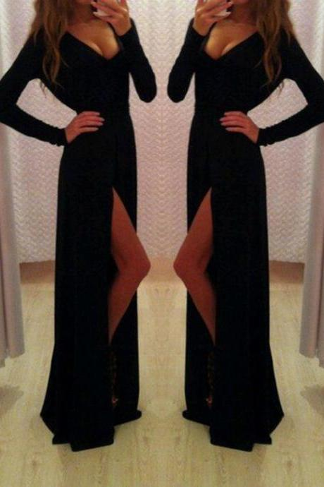 Chiffon Plunge V Long Sleeves Floor Length A-line Formal Dress Featuring Slit
