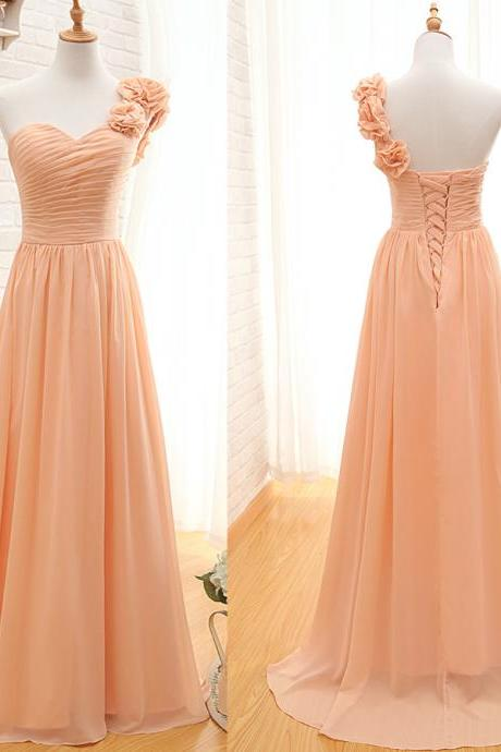 One Shoulder Bridesmaid Gown,Pretty Prom Dresses,Chiffon Prom Gown,Simple Bridesmaid Dress,Cheap Evening Dresses,Fall Wedding Gowns,2016 Beautiful Bridesmaid Gowns