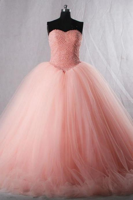 Luxury Pink Quinceanera Dresses Sweetheart Pearls Corset Tulle Puffy Prom Formal Wedding Ball Gowns Custom