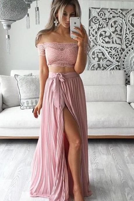 2016 Two Piece Prom Dresses Lace Top Off the Shoulder Short Sleeves Thigh-High Slit Sexy Evening Gowns