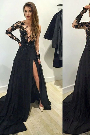 Long sleeve prom dress,black lace long prom dress,evening dress,black prom dress,prom dress