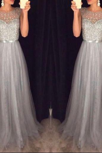New Arrival Prom Dress,Shiny grey prom dresses,A-line beading tulle prom dress, 2016 evening formal gowns