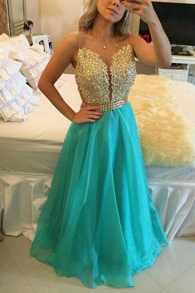 New Arrival Prom Dress, long prom dresses,golden lace+blue chiffon strapless evening dress, formal dresses